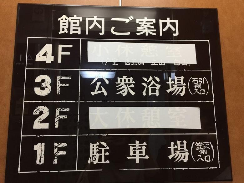 亀の湯のエレベーター表示